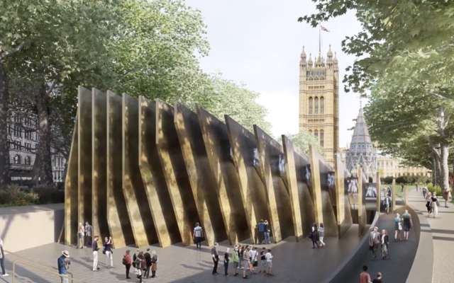 A virtual model of the proposed Holocaust memorial in Victoria Tower Gardens outside the UK Parliament. (Screen capture/YouTube)
