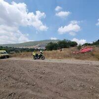 The site of a paraglider crash near Kaduri on July 23, 2021. (Magen David Adom)