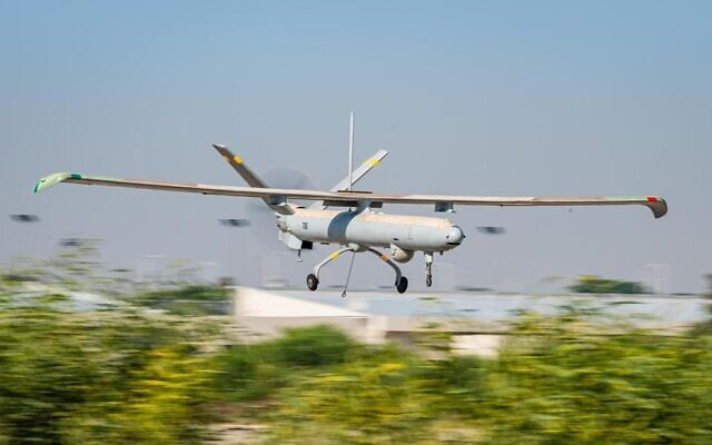 An Israeli Hermes-450 unmanned aerial vehicle flies during an international exercise, dubbed Blue Guardian, which launched on July 12, 2021. (Israel Defense Forces)