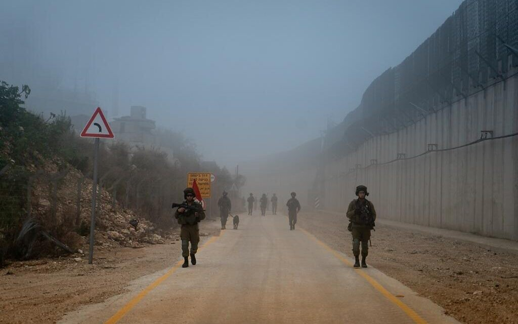IDF troops patrol the border with Lebanon in an undated photograph. (Israel Defense Forces)