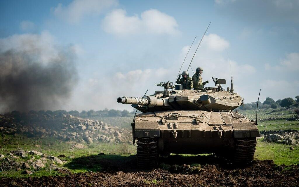 An IDF tank trains for a war against Hezbollah in northern Israel in an undated photograph. (Israel Defense Forces)