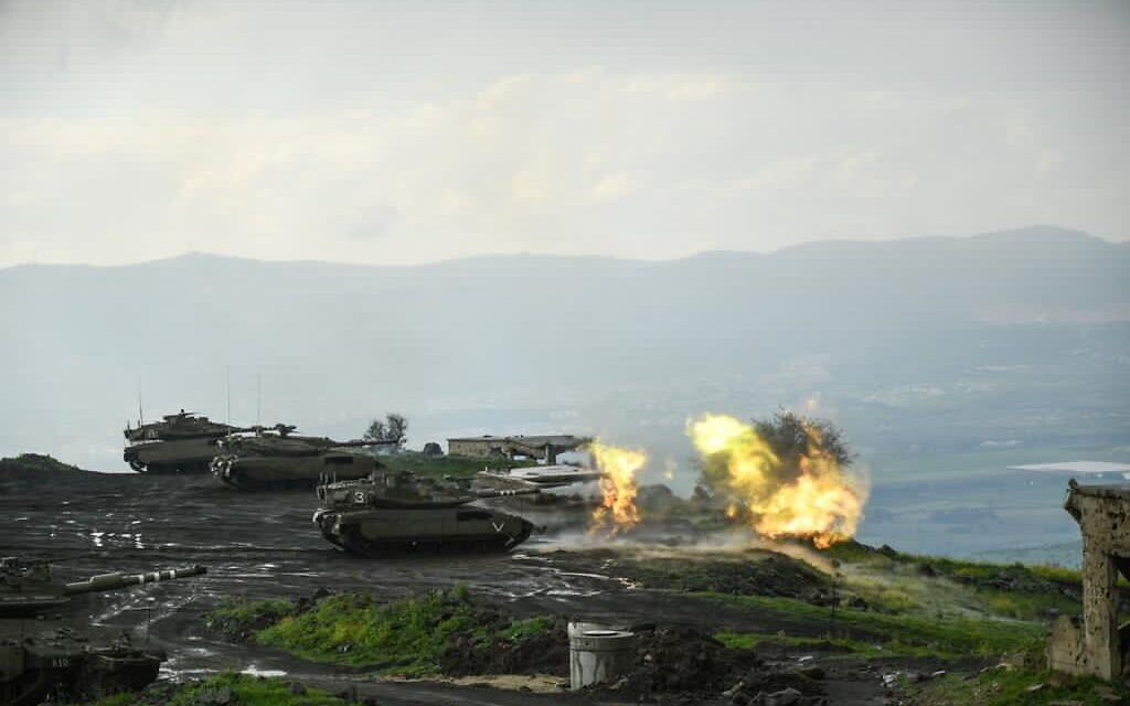An IDF tanks train for a war against Hezbollah in northern Israel in an undated photograph. (Israel Defense Forces)