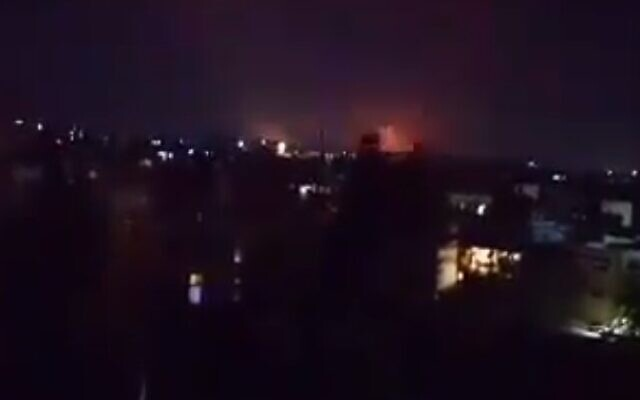 Explosions seen near the northern Syrian city of Aleppo on July 19, 2021 following a reported Israeli airstrike (Screencapture/Twitter)