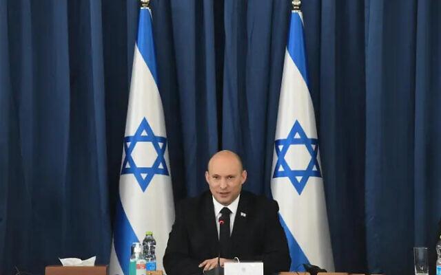 Prime Minister Naftali Bennett at a government meeting in Jerusalem, July 25, 2021. (Amos Ben Gershom/GPO)