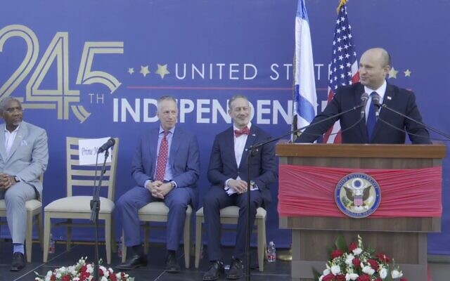 Prime Minister Naftali Bennett speaks at the US Embassy in Jerusalem's Fourth of July party, on July 6, 2021. (Screen capture/YouTube)