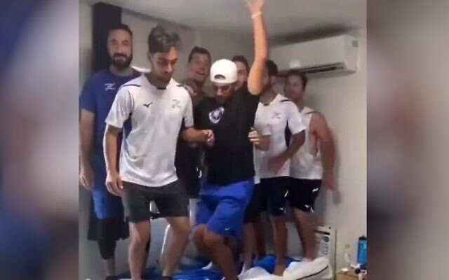 Israel's Olympic baseball team jump on a bed in the Tokyo's Olympic Village, in a video released on TikTok. (Video screenshot)