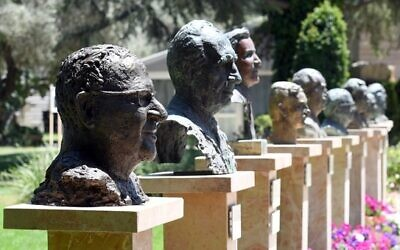 A bust of President Reuven Rivlin by artist Sigalit Landau seen in the Avenue of the Presidents, at the President's Residence, on July 5, 2021. (Haim Zach/ GPO)