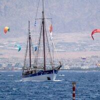 The Fleur de Passion sails out of Eilat en route to Sudan, on July 20, 2021. (Marcos Schonholz)
