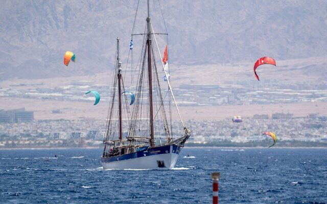 The Fleur de Passion sails out of Eilat en route to Sudan, July 20, 2021. (Marcos Schonholz)