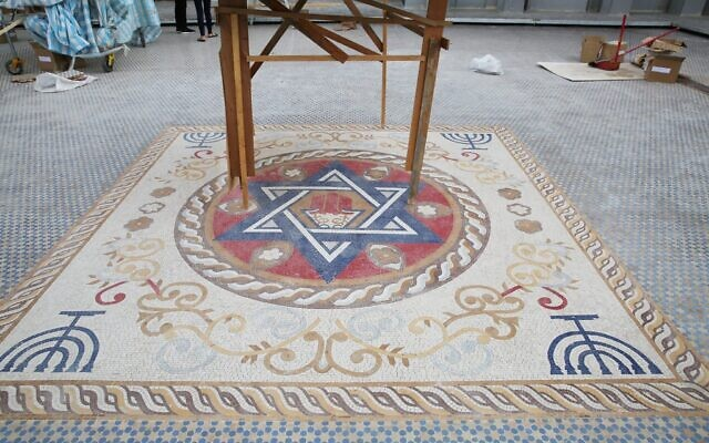 A mosaic floor in the rooftop plaze of Taiwan's new Jewish community center, currently under construction. (Glenn Leibowitz)