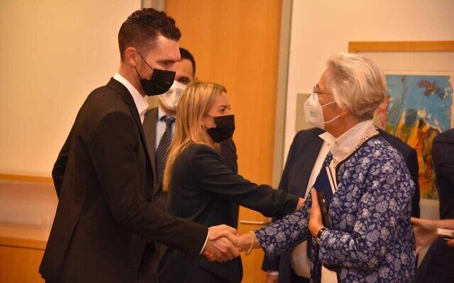 Deputy Foreign Minister Idan Roll meets Germany's Ambassador to Israel Susanne Wasum-Rainer in Jerusalem on July 5, 2021 (Courtesy)