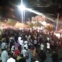 Screen grab taken from video apparently showing protests against water shortages in Khuzestan, July 16, 2021 (Twitter)