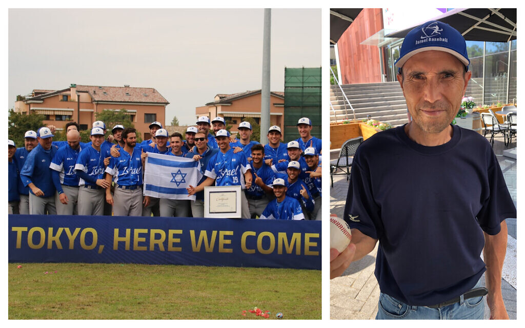 Left, Team Israel celebrates their upcoming trip to the Tokyo Olympics (Courtesy of Israel Baseball/ Margo Lipschitz Sugarman/ via JTA); at right, Kazumasa Kibe, or 'Kaz,' as he is known, has been an essential force in getting Israel's team to where it is today. (Hillel Kuttler)