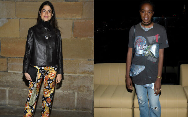 """Recho Omondi, right, pictured in 2016, was accused of antisemitism for calling Leandra Medine Cohen, pictured in 2020, a """"Jewish American Princess."""" (Getty Images via JTA)"""