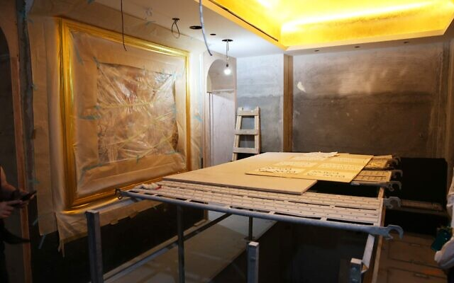Construction of the ritual bath in Taiwan's new Jewish community center. (Glenn Leibowitz)