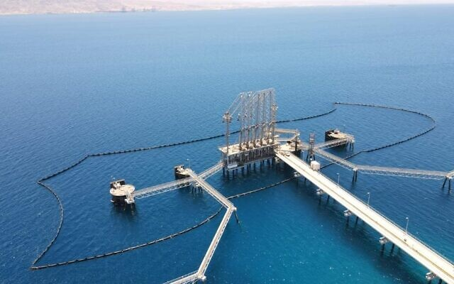 The Europe Asia Pipeline Company's oil boom in Eilat, designed to catch any potential oil spill before it leaks more broadly into the sea. (Courtesy EAPC)