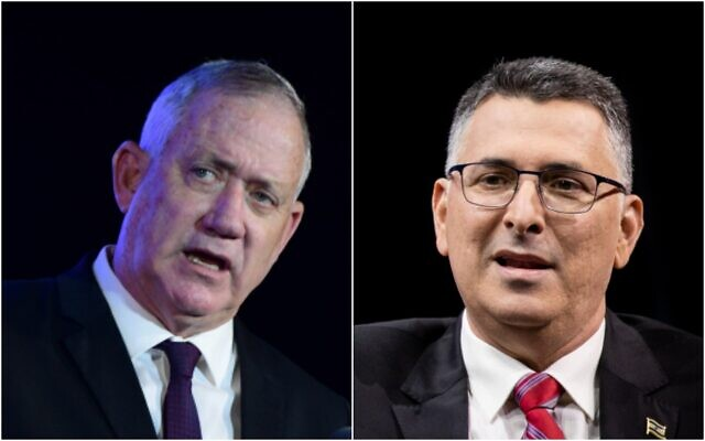 Left: Defense Minister Benny Gantz, July 14, 2021 (Tomer Neuberg/Flash90); Right: Gideon Sa'ar on March 7, 2021 (Yonatan Sindel/Flash90)