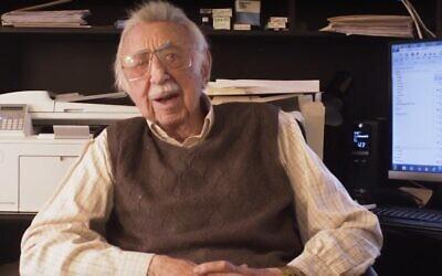 Detroit Jewish News columnist Danny Raskin was featured on Detroit Public Television last year at age 101. (YouTube screenshot)