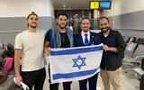 Three Israeli filmmakers held in Nigeria for 20 days prepare to board a flight from Abuja to Istanbul on their way home, JUly 28, 2021. From L-R, Andrew Leibman, Rudy Rochman, Deputy Ambassador Yotam Kreiman, David Benaim (Israel Embassy in Nigeria)