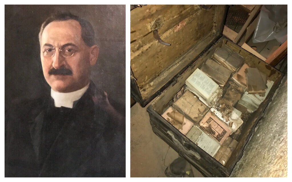 Rabbi J. Leonard Levy, and a recently rediscovered trunk containing his sermons from over 100 years ago. (Courtesy Rodef Shalom Congregation/ Matthew Falcone)