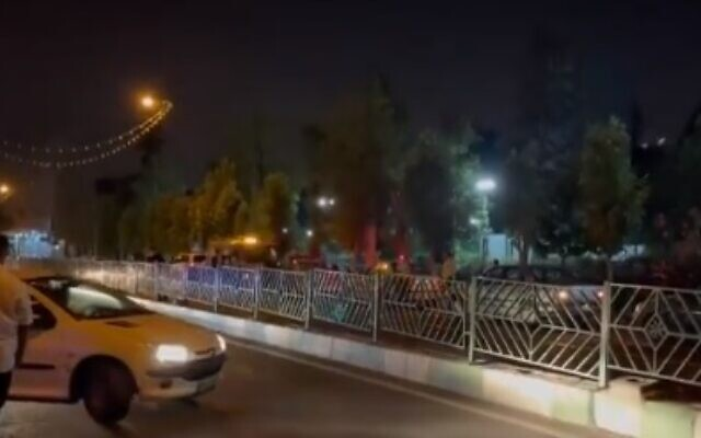 The scene of a blast in Tehran, caused by an 'unknown object,' July 10, 2021 (video screenshot)