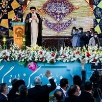 In this file photo taken on June 22, 2021 Iran's President-elect Ebrahim Raisi delivers speech at the Imam Reza shrine in the city of Mashhad in northeastern Iran. (Mohsen Esmaeilzadeh / ISNA NEWS AGENCY / AFP)