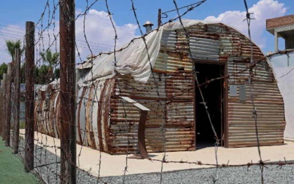 A picture shows the last remaining housing hut at the Jewish Museum of Cyprus in the port city of Larnaca on July 26, 2021. (Christina ASSI / AFP)