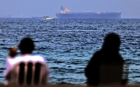 Illustrative: The Israeli-linked Japanese-owned tanker MT Mercer Street is seen off the port of the Gulf Emirate of Fujairah in the United Arab Emirates on August 3, 2021. (Karim SAHIB / AFP)