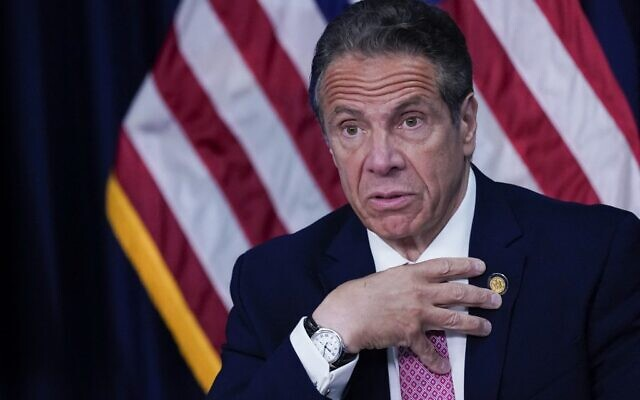 In this file photo taken on May 10, 2021 New York Gov. Andrew Cuomo speaks during a news conference in New York City. (Mary ALTAFFER / POOL / AFP)