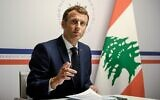 France's President Emmanuel Macron at the Lebanon donors' conference gathering online representatives of international institutions and heads of state, one year after the Beirut port blast, at the Fort de Bregancon, in Bormes-Les-Mimosas, southern France, on August 4, 2021 (Christophe SIMON / POOL / AFP)