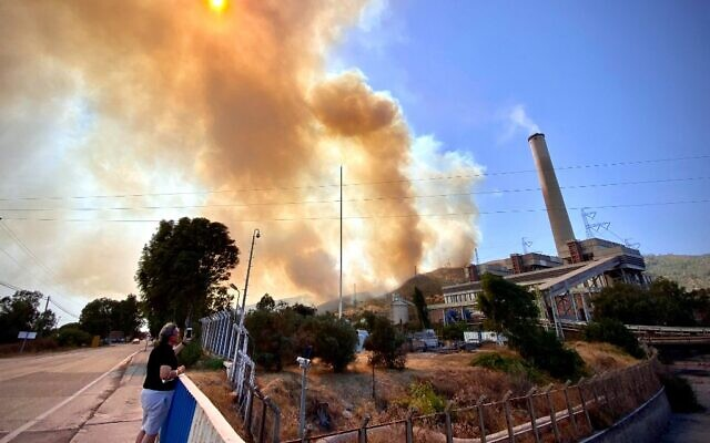 A man stands in front of the Kemerkoy Thermal Power Plant (R) with the blaze approaching in the background, in Milas, near Oren, on August 4, 2021. (SERDAR GURKAN / AFP)