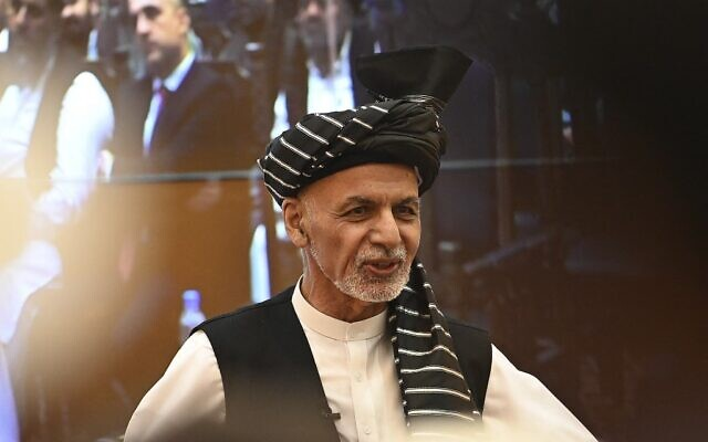 Afghanistan's President Ashraf Ghani speaks during a function at the Afghan presidential palace in Kabul on August 4, 2021. (SAJJAD HUSSAIN / AFP)