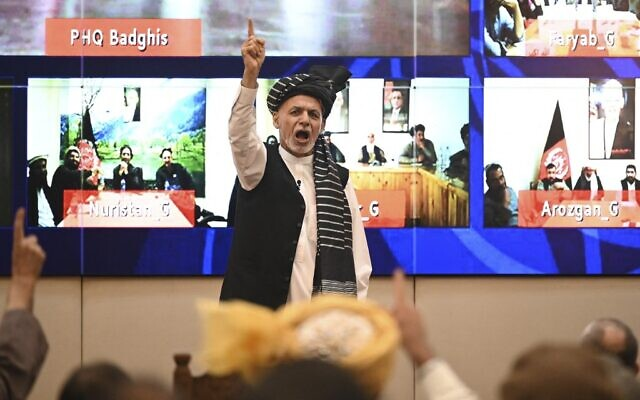Afghanistan's President Ashraf Ghani speaks during a function at the Afghan presidential palace in Kabul, on August 4, 2021. (Sajjad Hussain/AFP)