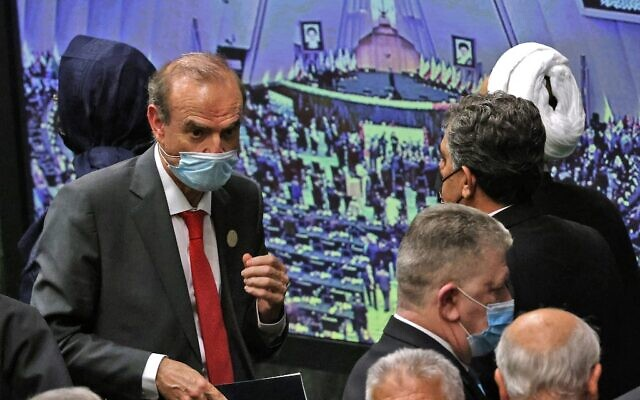 European External Action Service (EEAS) Deputy Secretary General Enrique Mora (L) attends the swearing-in ceremony of Iran's new President Ebrahim Raisi at the Iranian parliament in the capital Tehran on August 5, 2021. (Atta Kenare/AFP)