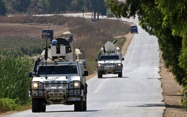 A United Nations peacekeeping force in Lebanon (UNIFIL) convoy patrols the southern Khiam area near the border with Israel, on August 6, 2021. (Mahmoud Zayyat/AFP)