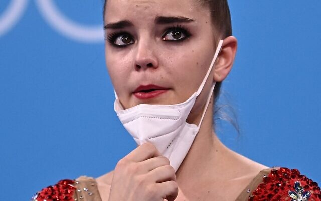 Russia's Dina Averina reacts at the end of the individual all-around final of the Rhythmic Gymnastics event during Tokyo 2020 Olympic Games at Ariake Gymnastics center in Tokyo, on August 7, 2021. (Lionel BONAVENTURE / AFP)