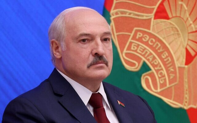Belarus' President Alexander Lukashenko looks on during a press conference in Minsk on August 9, 2021. (Pavel Orlovsky/Belta/AFP)