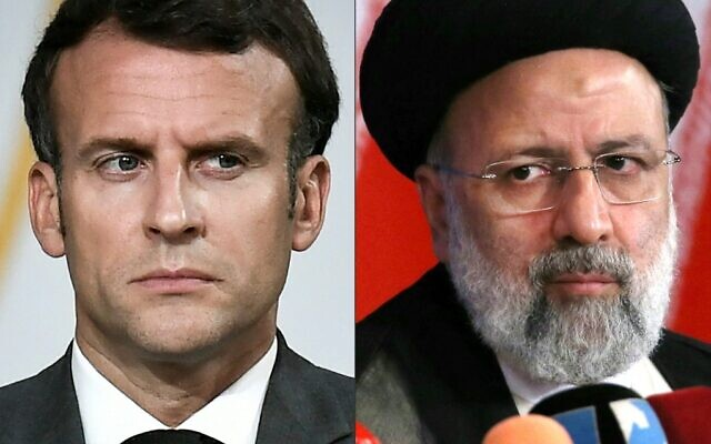 This combination of file pictures created on August 9, 2021, shows French President Emmanuel Macron and Iran's President-elect Ebrahim Raisi.  (Stephane De Sakutin and Atta Kenare/Various Sources/AFP)