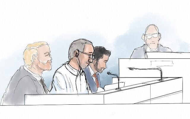 Courtroom sketch shows Iranian defendant Hamid Noury (2nd from left) sitting in the District Court of Stockholm with his defense attorney Daniel Marcus (3rd from left) on the opening of his trial for war crimes and murder, on August 10, 2021. (Anders Humlebo/AFP)
