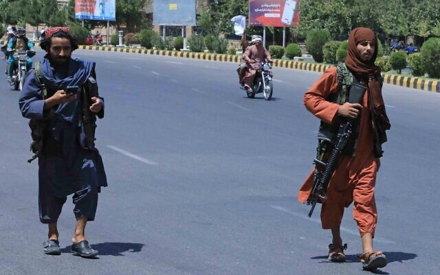 Taliban fighters patrol the streets in Herat on August 14, 2021. (AFP)