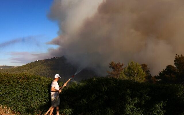 A resident sprays water with a hose as heavy smoke rises from a forest fire in the Jerusalem mountains near the Israeli village of Moshav Shoresh, on August 15, 2021. (Menahem KAHANA / AFP)