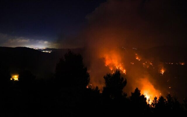Heavy smoke and flames rise from a wildfire in the Jerusalem Hills near Moshav Shoresh, on August 15, 2021. (Menahem KAHANA / AFP)