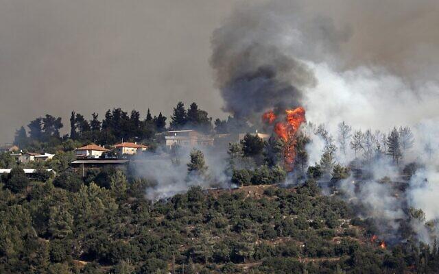 Smoke billows from a forest fire near Shoresh, outside Jerusalem, on August 16, 2021. (Ahmad Gharabli/AFP)