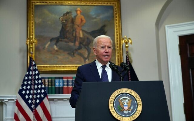 US President Joe Biden speaks during an update on the situation in Afghanistan and the effects of Tropical Storm Henri in the Roosevelt Room of the White House in Washington, DC on August 22, 2021. (Andrew Caballero-Reynolds / AFP)