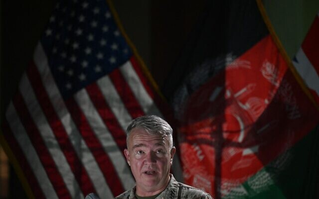 Head of the US Central Command, General Kenneth McKenzie, speaks during a press conference on July 25, 2021, at the former Resolute Support headquarters in the US embassy compound in Kabul. (SAJJAD HUSSAIN / AFP)