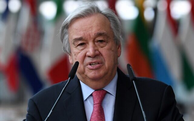 UN Secretary-General Antonio Guterres addresses media representatives at a European Union summit in Brussels, on June 24, 2021. (John Thys/Pool/AFP)