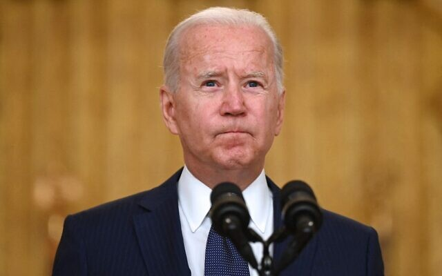 US President Joe Biden delivers remarks on the terror attack at Hamid Karzai International Airport in the East Room of the White House, Washington, DC on August 26, 2021. (Jim WATSON / AFP)