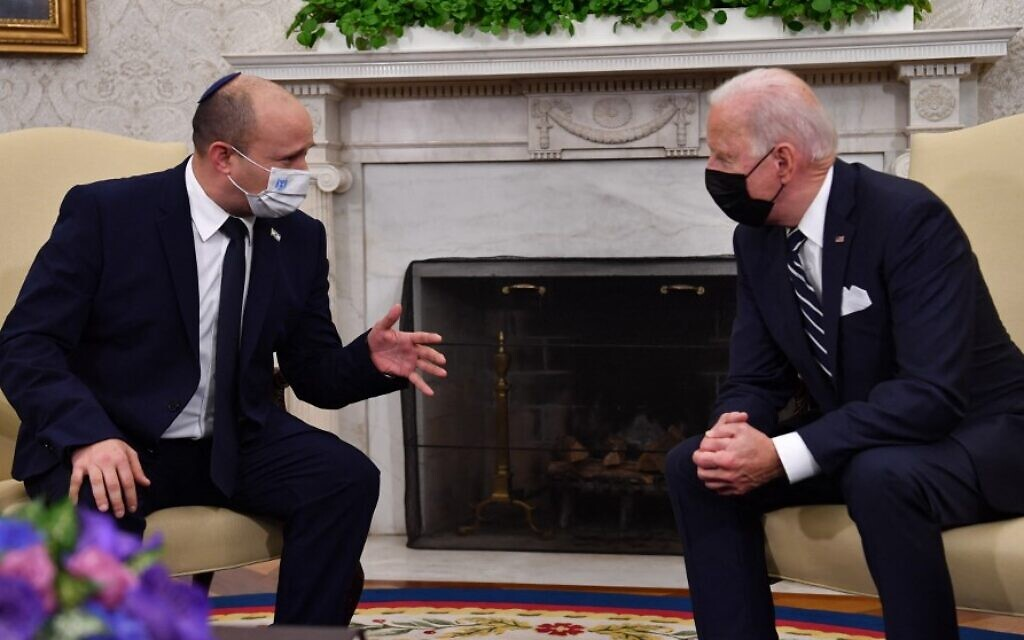 US President Joe Biden meets with Israeli Prime Minister Naftali Bennett in the Oval Office of the White House in Washington, DC, on August 27, 2021. (Nicholas Kamm/AFP)