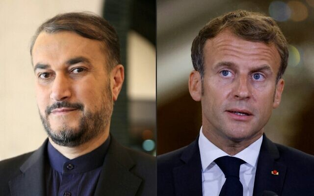 This combination of pictures shows Iran's Hossein Amirabdollahian (left) and French President Emmanuel Macron. (Sabah Arar and Ludovic Marin/Various Sources/AFP)