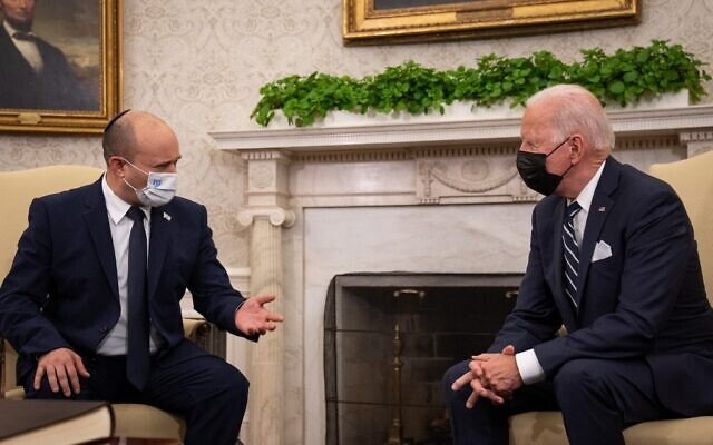 US President Joe Biden meets with Prime Minister Naftali Bennett in the Oval Office at the White House, on August 27, 2021, in Washington, DC. (Sarahbeth Maney-Pool/Getty Images/AFP)